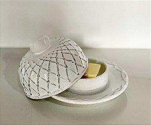 Manteigueira em cerâmica branca