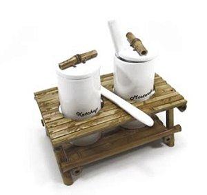 Kit Ketchup e Maionese cerâmica com Bambu