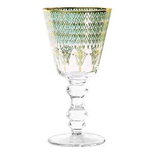 Taça cristalino verde/ambar conjunto com 6unidades