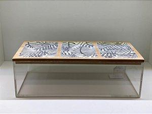 Caixa acrílica retangular com tampa em madeira