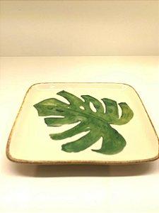 Travessinha Retangular costela de Adão Folhas verdes