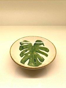 Travessinha redonda pequena folhas verdes