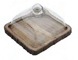 Tábua em madeira quadrada com tampa em vidro