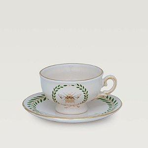 Conjunto c/ 6 unidades  Xícara de Chá Renaissance com detalhes em ouro.