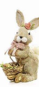 Coelha decorativa c/ carrinho e fita rosé