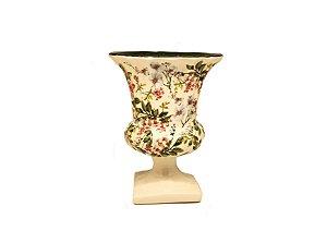 Vaso Coluna em Cerâmica com Estampa Gardênia
