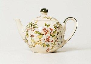 Bule de Chá em Cerâmica com Estampa Gardênia