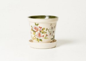 Vaso com Prato em Cerâmica com Estampa Gardênia