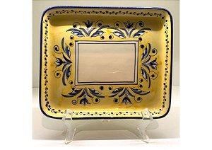 Bandeja Rasa em Cerâmica com Estampa Fiore