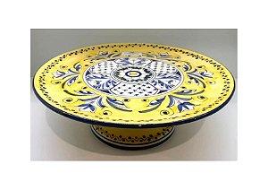 Porta bolo em Cerâmica na Estampa Fiore