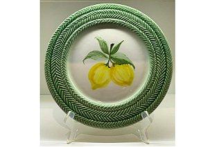 Jogo de Sobremesa em Cerâmica na Estampa Limão Siciliano Treliça Pintado set. c/6un