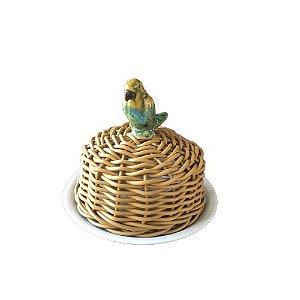 Manteigueira em Cerâmica com Cobre em Vime com Aplique Arara