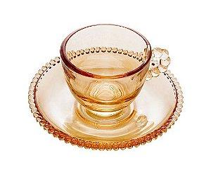 Conjunto de Xícaras Café Pearl Ambar Cristal com 4un
