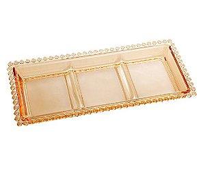 Petisqueira Pearl Ambar Cristal com 3 Divisões