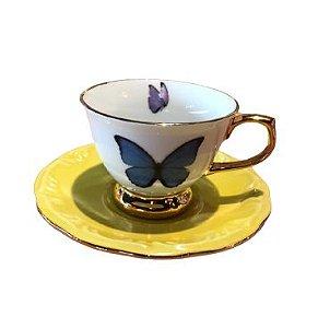 Xícara Café Borboleta Colors porcelana c/Friso Ouro