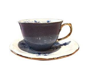 Xícara Café Porcelana Floral Azul C/Friso Ouro 06un