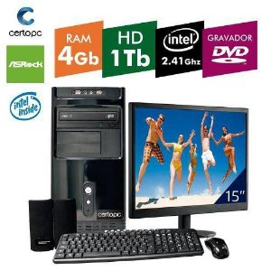 Computador + Monitor 15 Intel Dual Core 2.41ghz 4gb Hd 1tb Dvd Certo Pc Fit 036