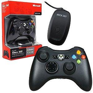 Controle Sem Fio (Preto) + Adaptador para PC - XBOX 360 / PC