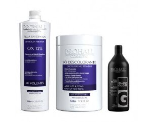 Prohall - Kit Ox 40 + Pó Descolorante azul + Matizador Black Gloss