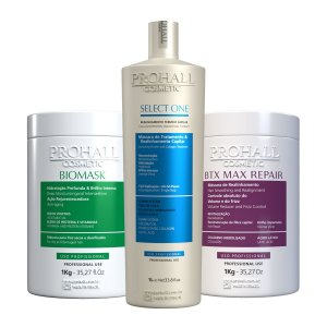Prohall - Escova Select one + Máscara Biomask + Btx Max Repair (3X1000g)
