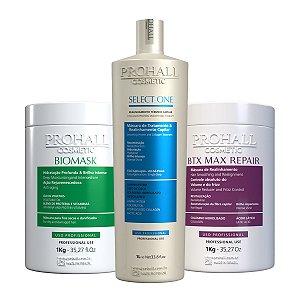 Prohall - Escova Select one + Máscara Biomask + Btx Max Repair (3X1000g)