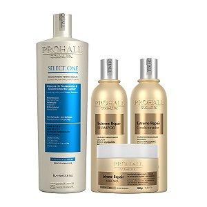 Prohall - Kit Escova Select One + Extreme Repair Extrato de Macadâmia (4 itens)