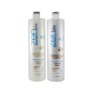 Zen Hair - Escova Progressiva Plástica dos fios 4D (2x1000ml)