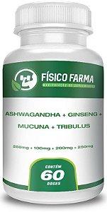 Ashwagandha + Ginseng + Mucuna + Tribulus Cápsulas 60 Doses