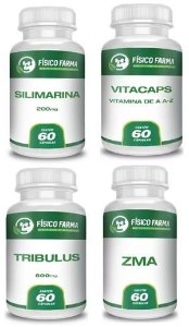 Kit Tpc (silimarina + Tribullus + Zma) 60 Cápsulas Cada + Complexo Vitamínico