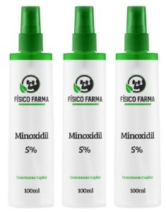 MINOXIDIL 5% 100mL spray Kit com 3 unidades