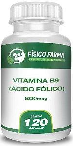 Vitamina B9 (Ácido Fólico) 800Mcg 120 Cápsulas