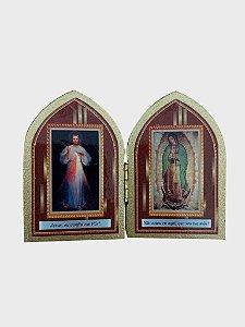 Mini Capelinha Jesus Misericordioso e Nossa Senhora de Guadalupe