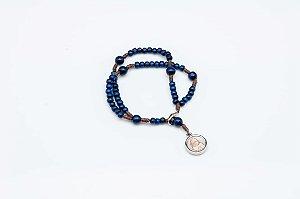 Terço pulseira infantil com medalha dupla Jesus Misericordioso e Nossa Senhora Guadalupe