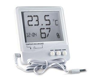 Termo Higrômetro Digital Temperatura Interna e Externa e Umidade Interna 7663
