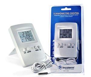 Termômetro Digital para Mapa máx e min com alarme e Cabo 1,7m 7427 Incoterm