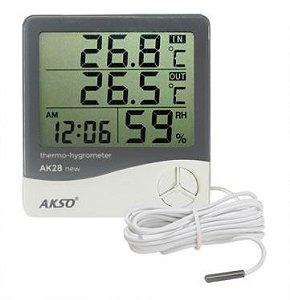 Termo-Higrômetro Digital com Sensor Externo e Relógio AK28 new