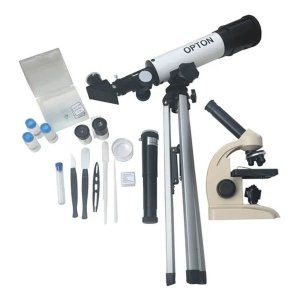 Microscópio 400x E Telescópio 90x Kit Completo