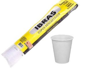 Copo descartável de água 180ml com 100 (branco)
