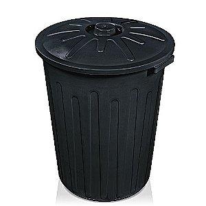 Lixeira com tampa 65 litros preta