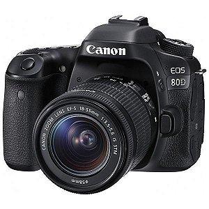 """Câmera Fotográfica Canon DSLR EOS 80D (W) LCD 3.0"""" 24.2MP e Lente EF-S 18-55 mm - Preta"""