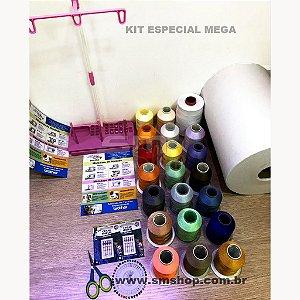 Kit Especial Mega com 20 Linhas, Agulhas, Entretela, Porta Cone e Bobinas