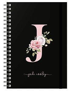 Caderno A5 : Letra Floral - Capa Preta