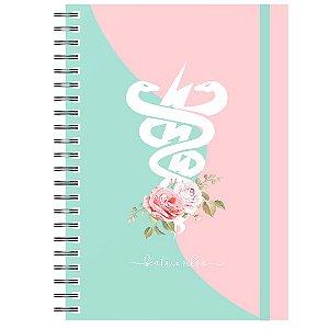 Caderno A5 : Símbolo Verde/Rosa