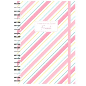 Caderneta de Saúde - Listrado Diagonal Cor Pastel