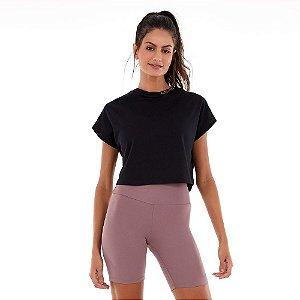 T-Shirt Alto Giro Malha Confort Dry Bordado Gola Preto