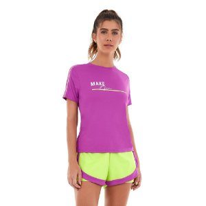 T-Shirt Alto Giro Skin Fit Make It Fun e Listras Pink Orchid