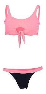 Biquíni New Beach Cropped Canelado Com Nó Rosa Neon
