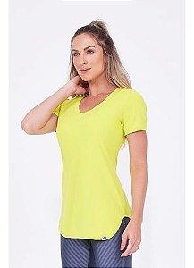 T-shirt Alto Giro Skin Fit Alongada Amarelo Lemon