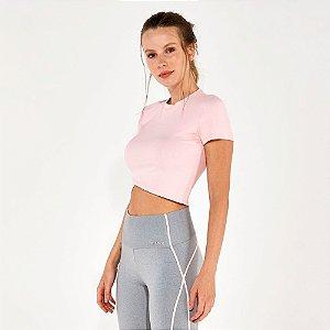 T-Shirt Alto Giro Rib Santorini Cropped Rosa 2112731