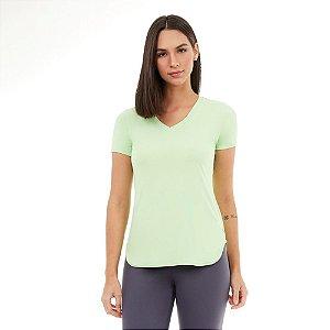 T-Shirt Alto Giro Skin Fit Alongada Gola V Verde Joy 2111701